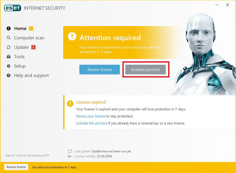 Renewal of Home Users ESET Anti-Virus Software License